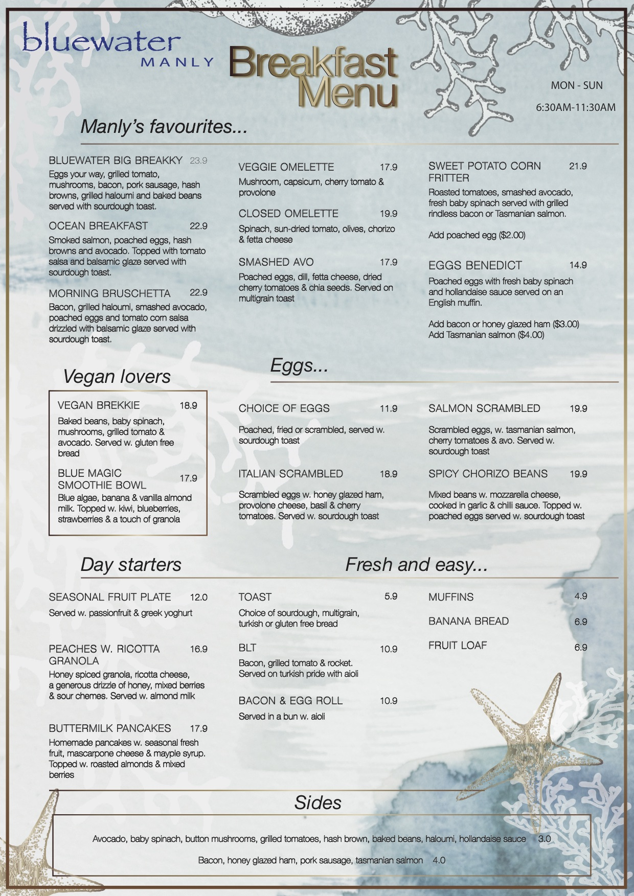 Bluewater Cafe Manly Breakfast Menu