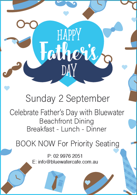 Bluewater Cafe Manly Father's Day 2018
