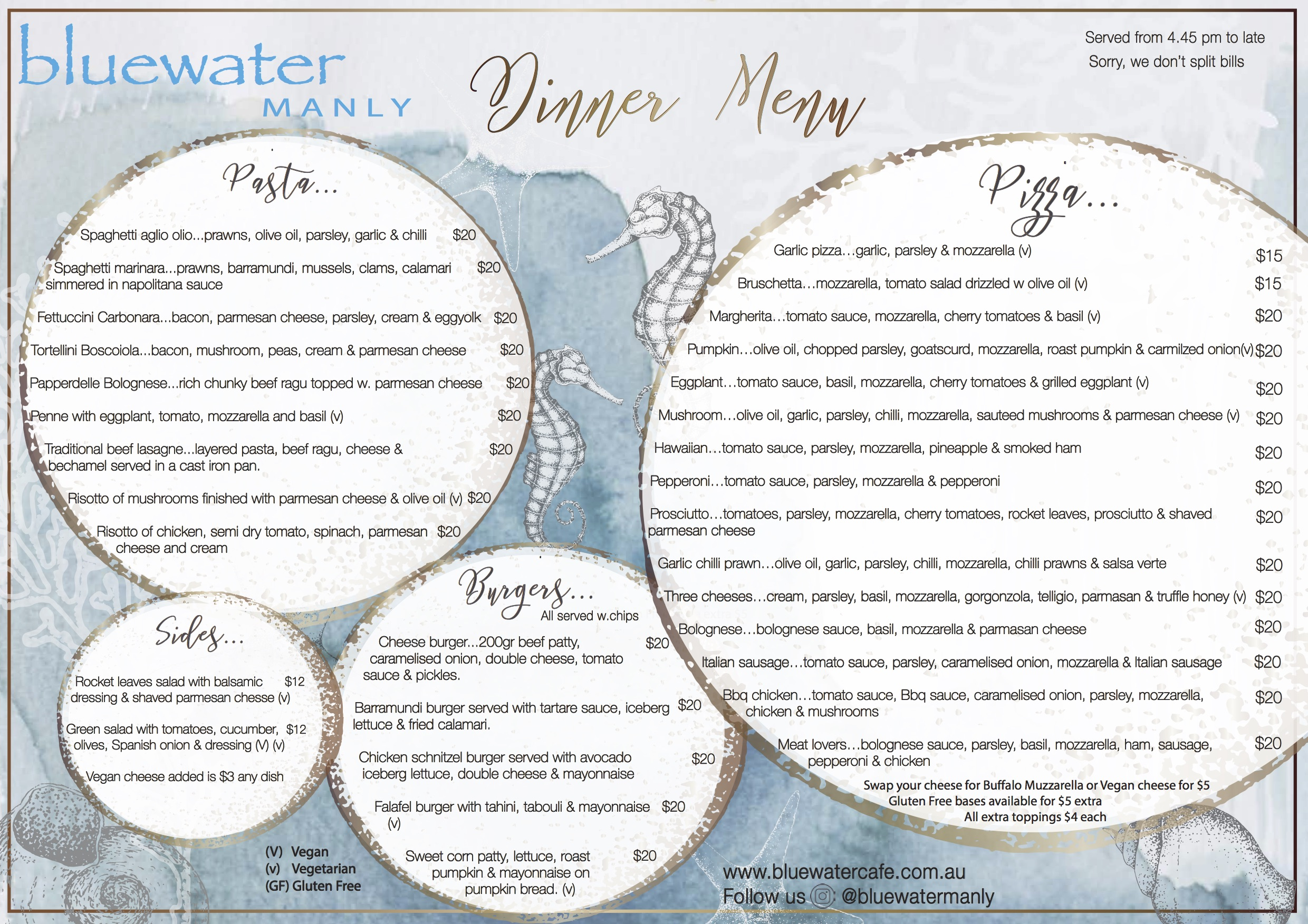 Bluewater Cafe Manly Dinner Menu
