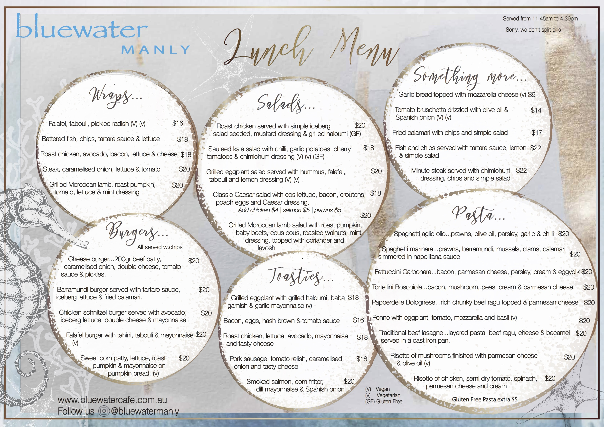 Bluewater Cafe Manly Lunch Menu