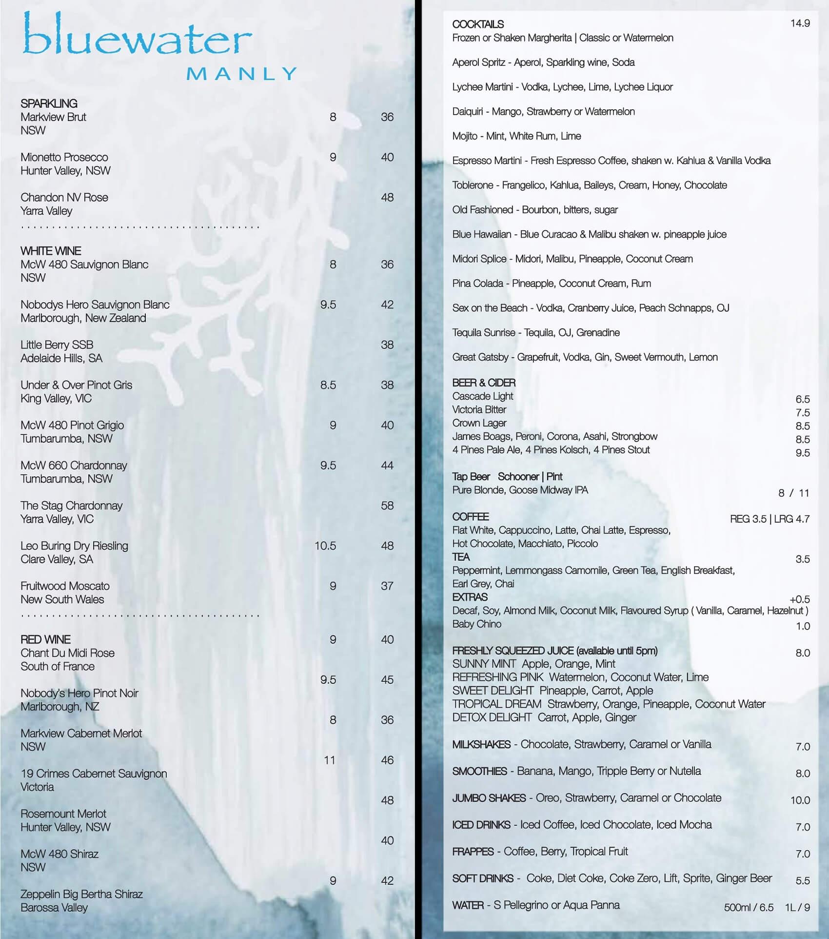 Bluewater Cafe Manly Beverage Menu